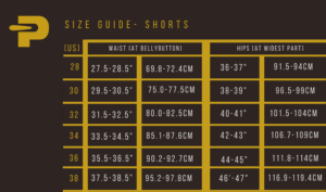 size guide - shorts